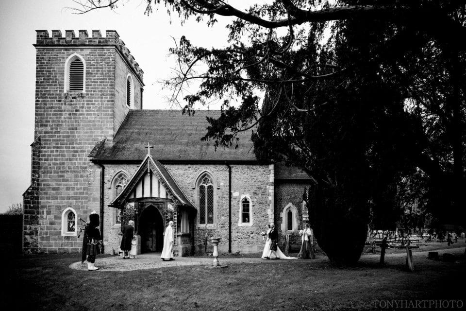 Nicole making her way along the path to Peper Harrow Church in Surrey