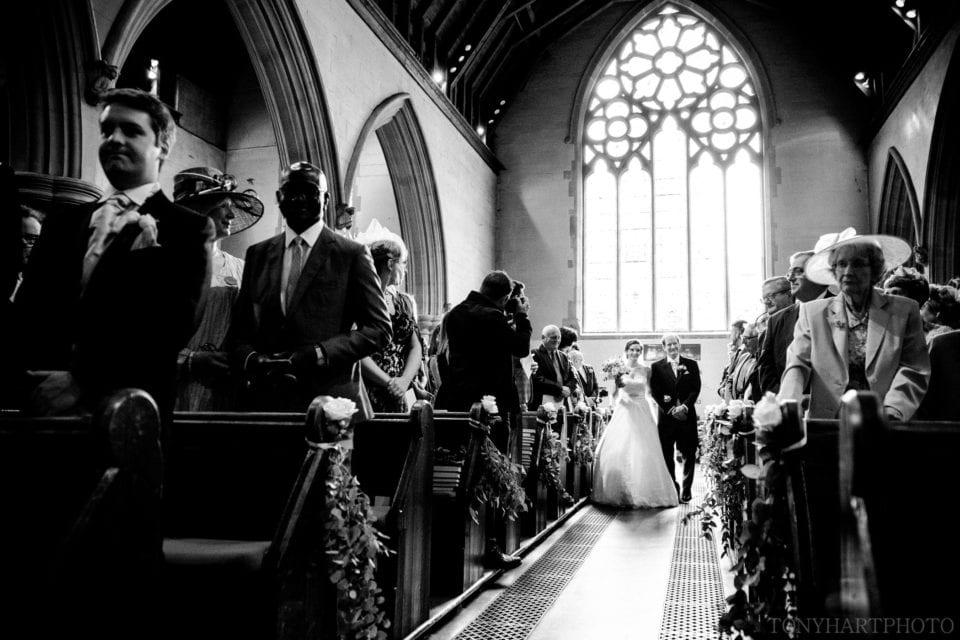 Penny making her entrance at St Mary Oatlands Church in Weybridge