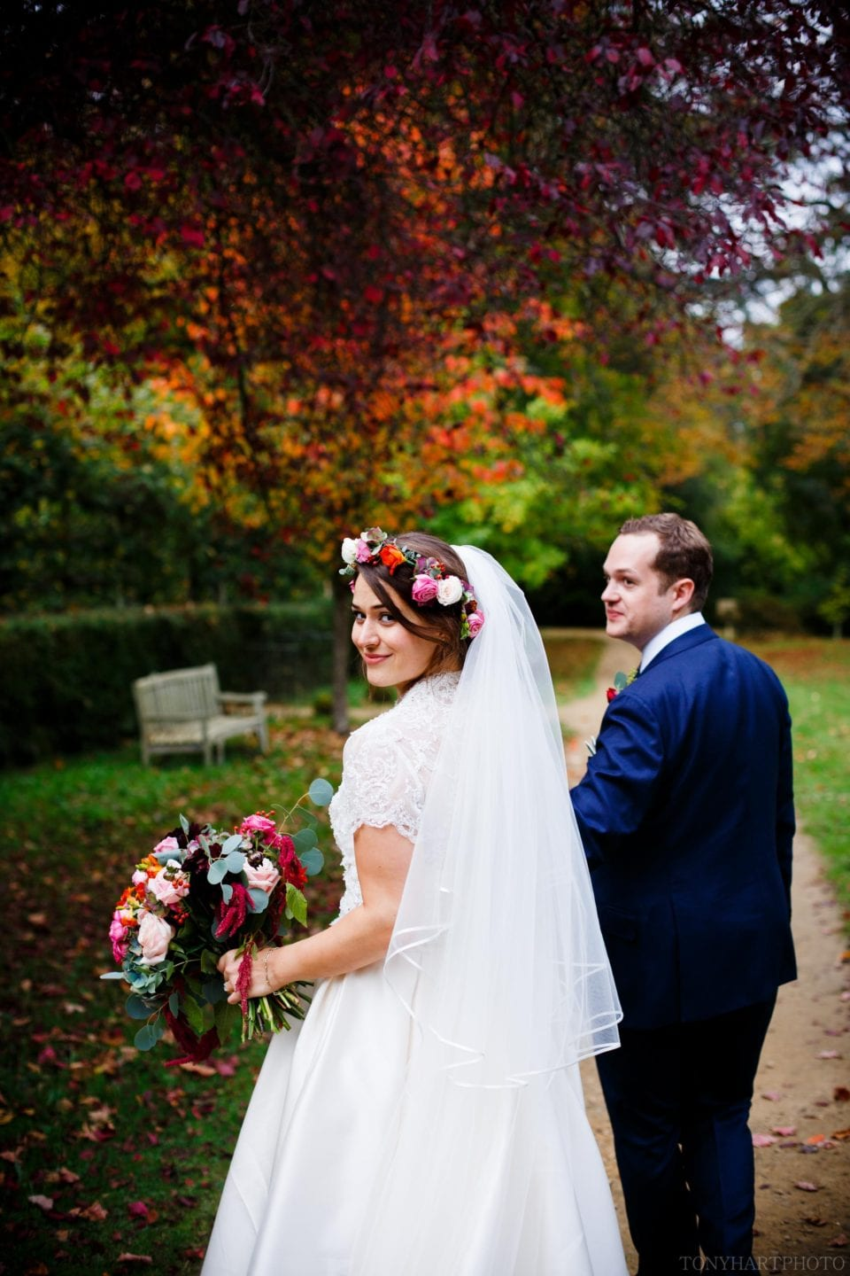 The Best Wedding Photographs of 2017 - Ali & Nic went for a stroll and a few portraits shortly before the wedding breakfast at Ramster Hall. I love her beautiful bouquet and flower crown