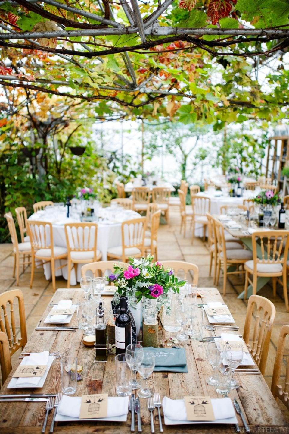 The incredible interior of the greenhouses at West Green House prepared for Emma & Tom's wedding breakfast