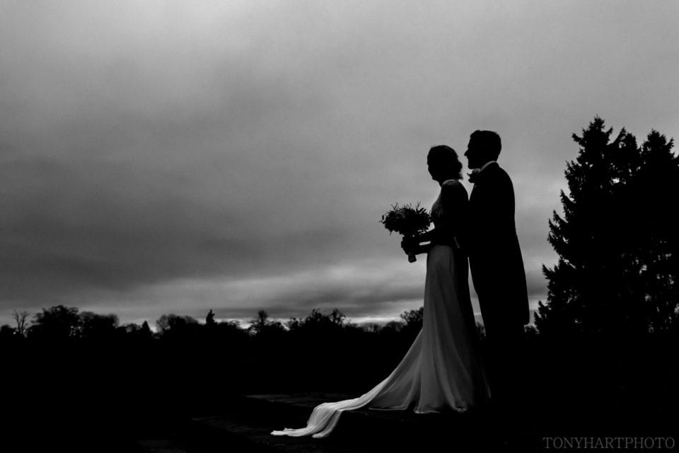 Nicole & Rich silhouetted against a winter sky at Loseley Park