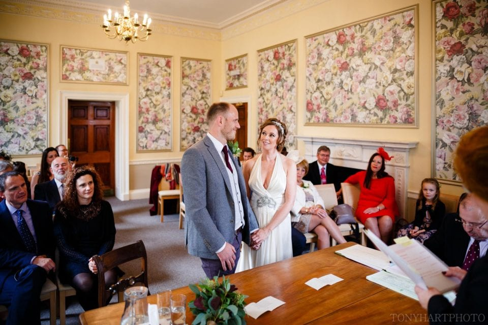 Emma & Tom during their marriage ceremony at Basingstoke Registry Office