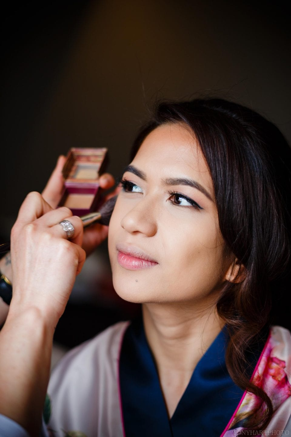 April looking truly radiant while being made up for her wedding at The Bingham Hotel Richmond
