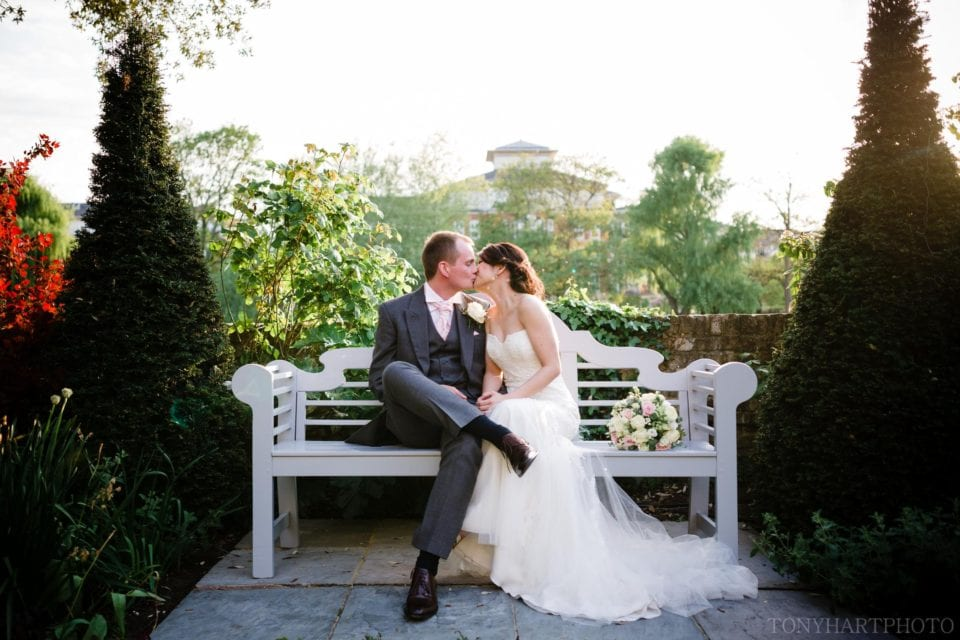 A portrait of April & Ed in the beautiful gardens of The Bingham Hotel, Richmond