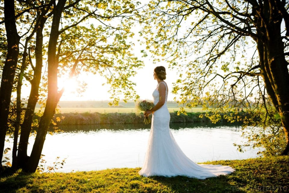 Bride Tazz at sunset on the banks of the River Thames