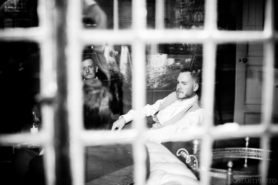 Gavin spied through the window of the Bar at Farnham Castle