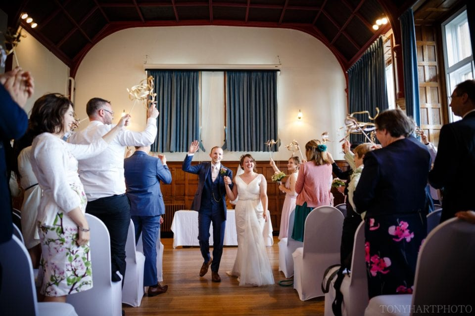 Shona & Alex getting a post-ceremony standing ovation from their wedding guests