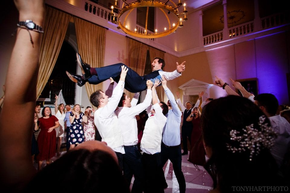 Charlie getting airborne during the dancing at Farnham Castle