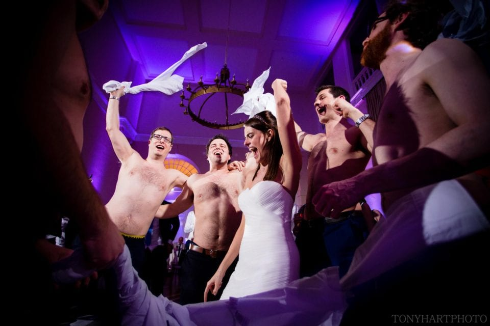 Sophie surrounded by topless men during a fairly wild dance floor at Farnham Castle!