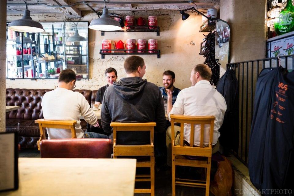 Peter and his groomsmen enjoying a pre-wedding breakfast in Farnham