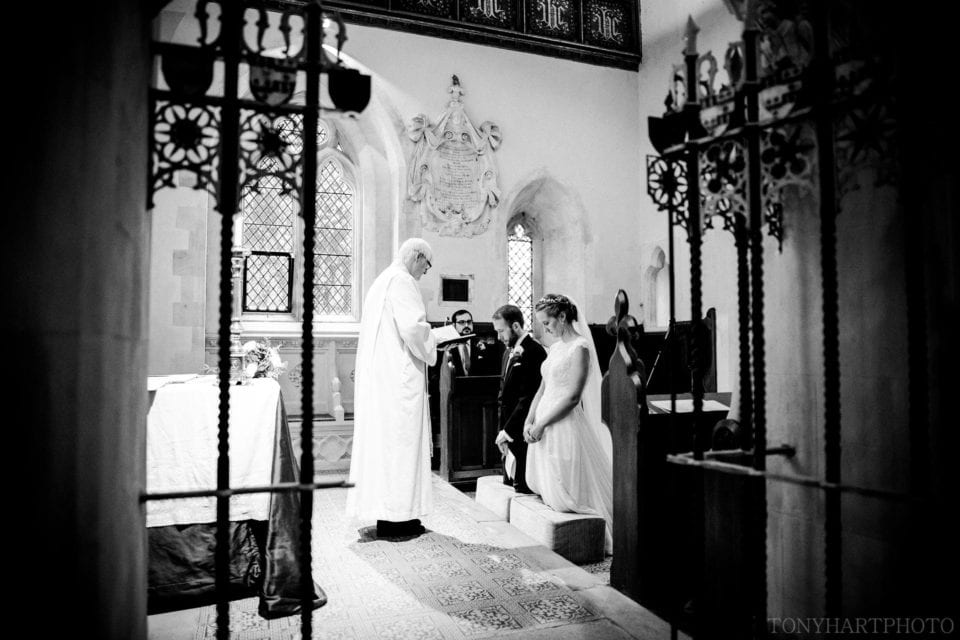 Nicole & Rich at the Altar during their wedding ceremony at Peper Harrow Church, Surrey