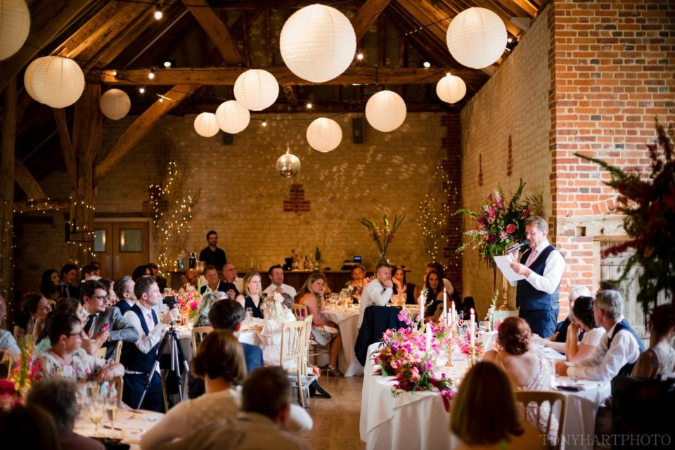 Andy's Dad and Best Man Chic making his wedding speech at Bury Court Barn