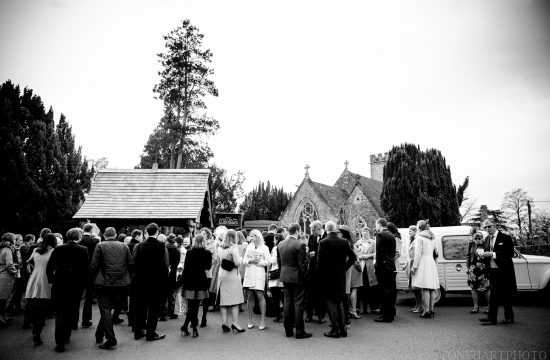 Guests before a wedding in Peper Harow