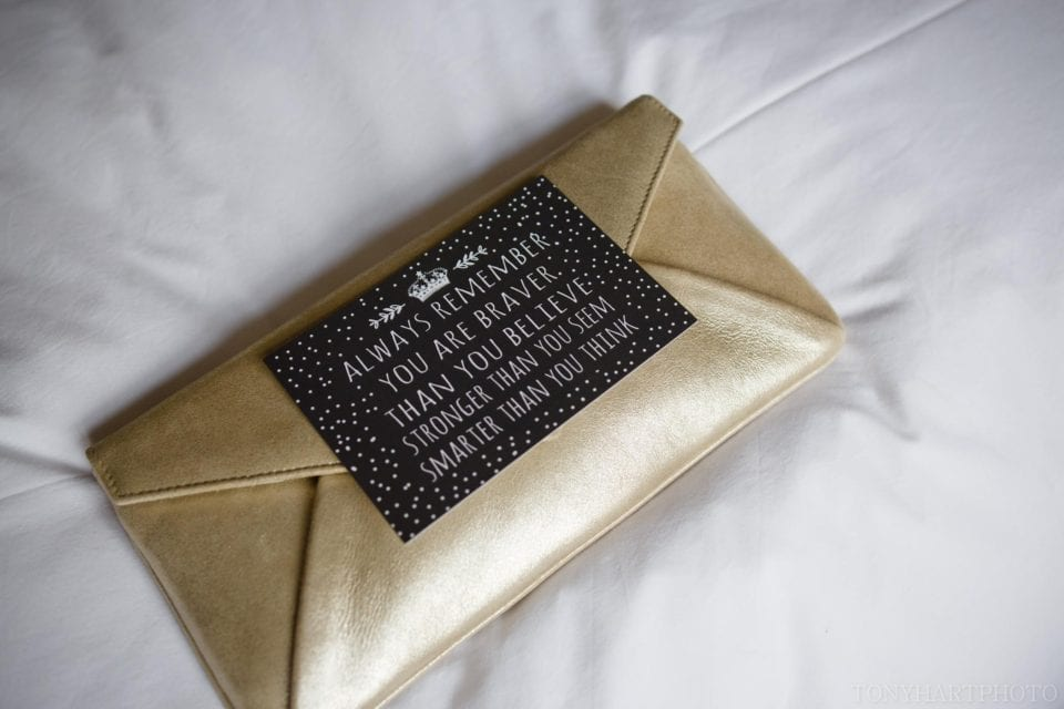 Gold clutch bag for the bride