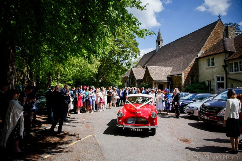 Red vintage wedding car 1952 Austin A40 Sports Tourer