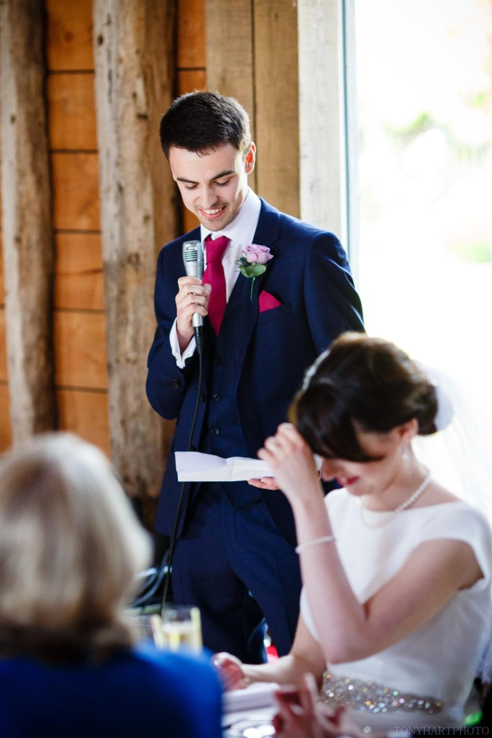 Groom's speech at the Long Barn Wedding venue