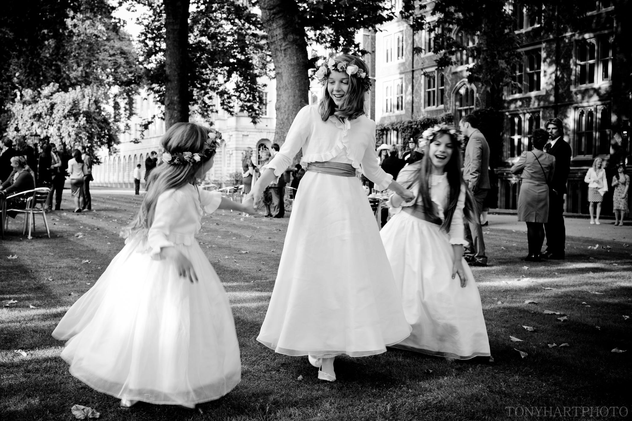 Bridesmaids playing at a Lincoln's Inn Fields wedding