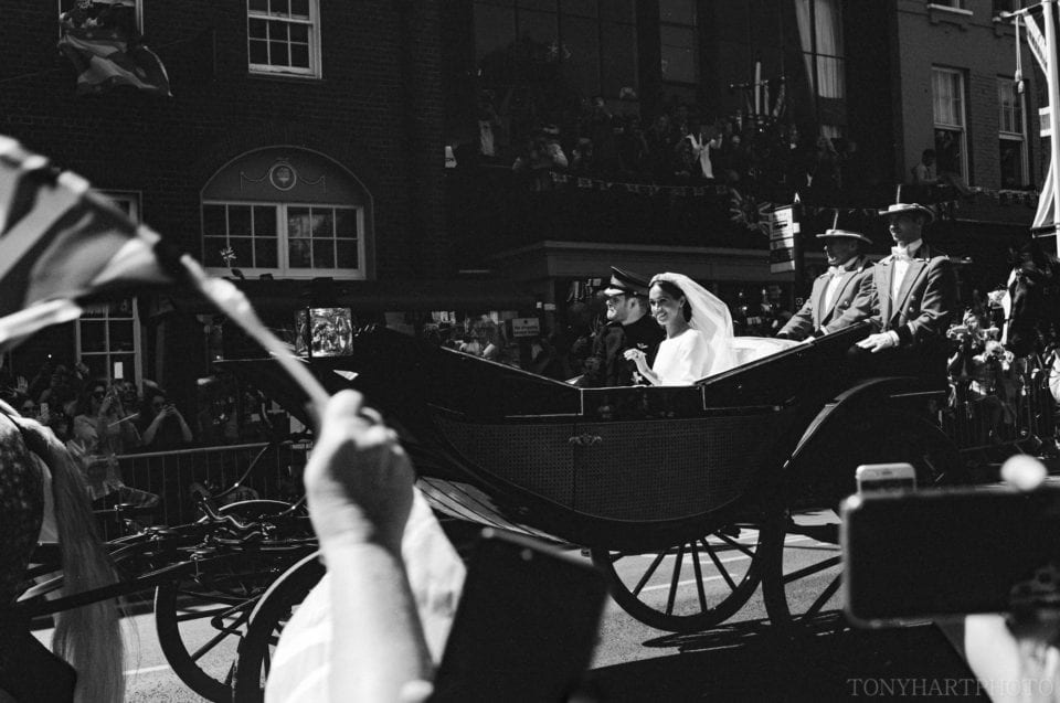 The Duke & Duchess of Sussex during the carriage procession.