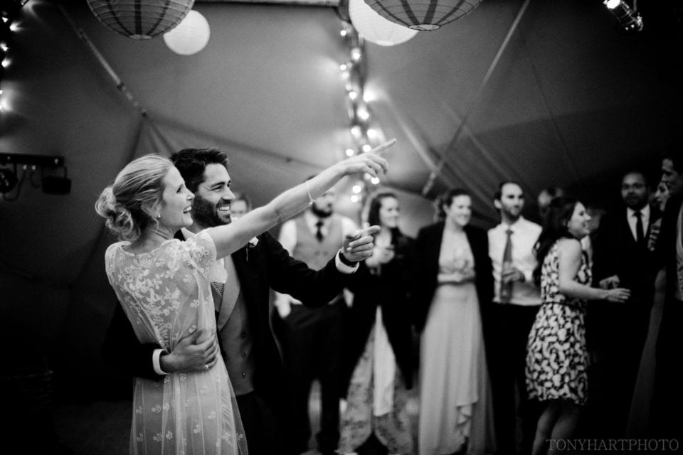 First dance black and white tipi wedding