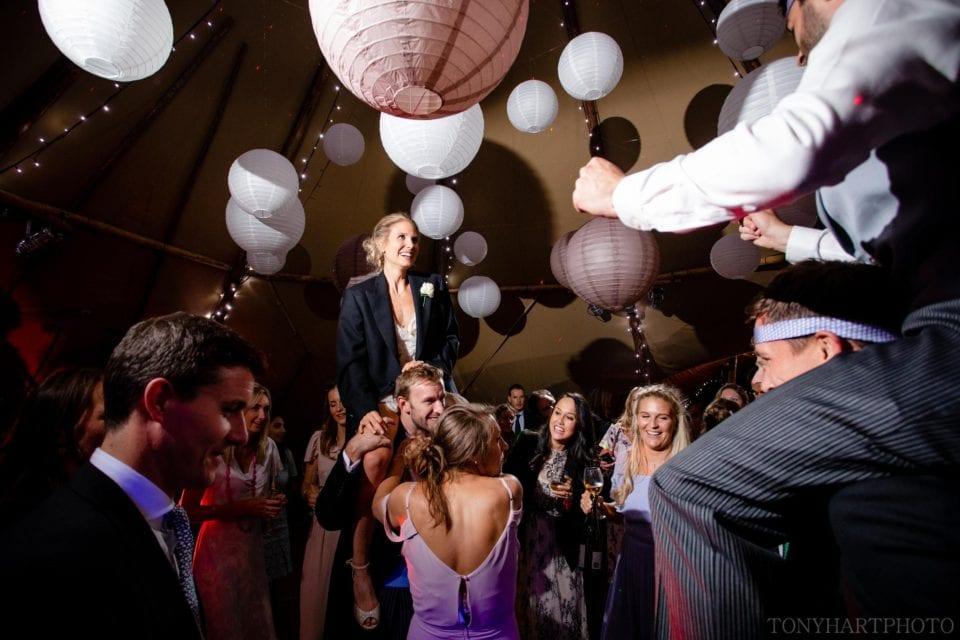 Bride & Groom on shoulders on the dancefloor