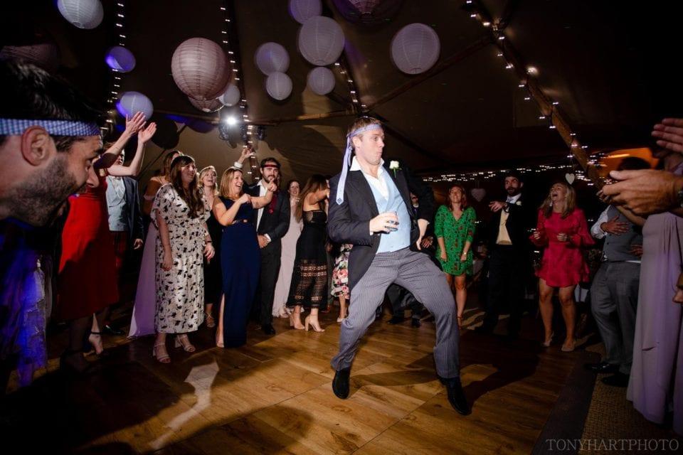 Groomsman on the tipi dancefloor