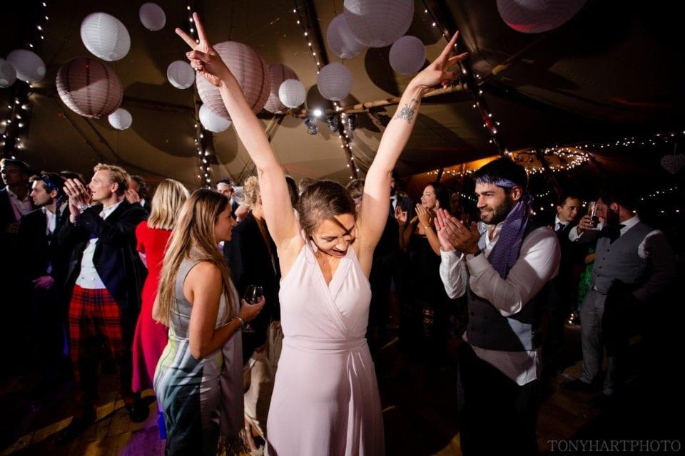 Bridesmaid on the tipi dancefloor