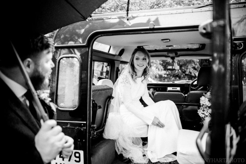 Anna arriving in the Land Rover
