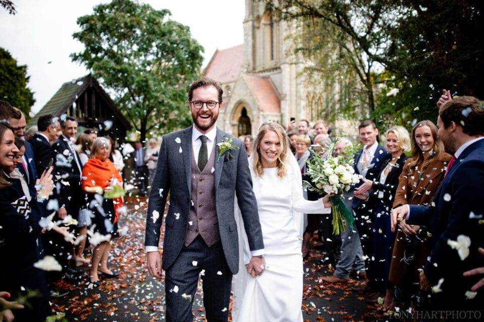 Wedding confetti at All Saints Church in Sherbourne, Warwickshire
