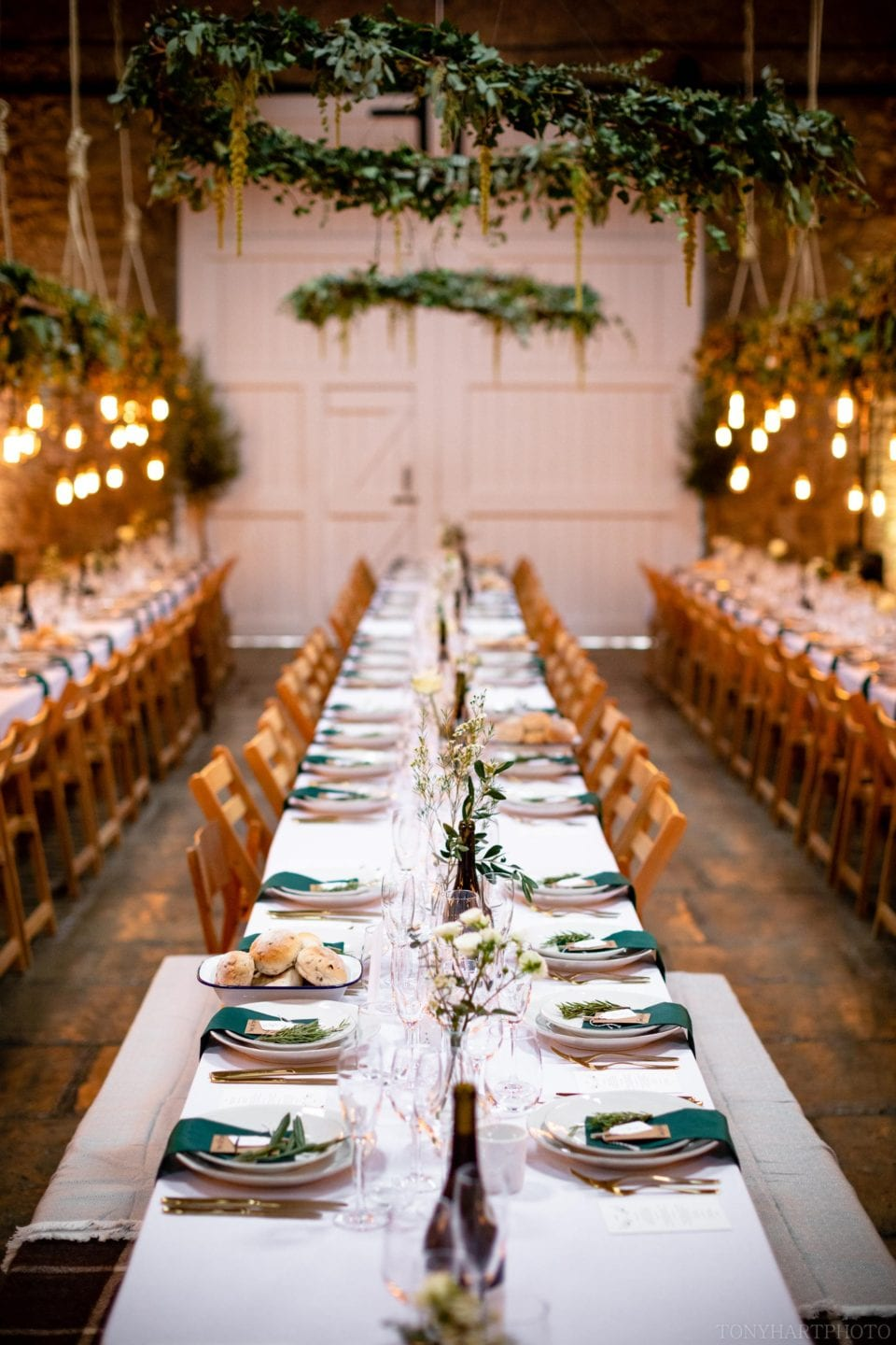 Banqueting tables in the barn