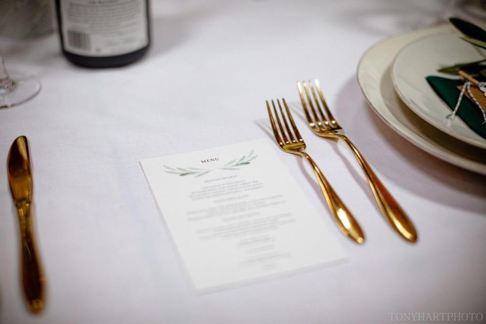 Cutlery and menu detail