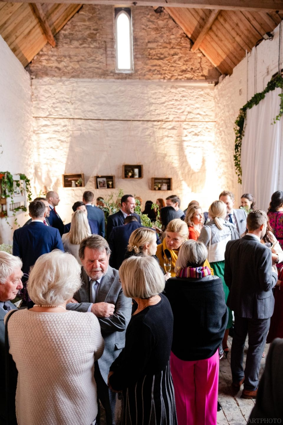 Guests in a side room at Longbourn Barn