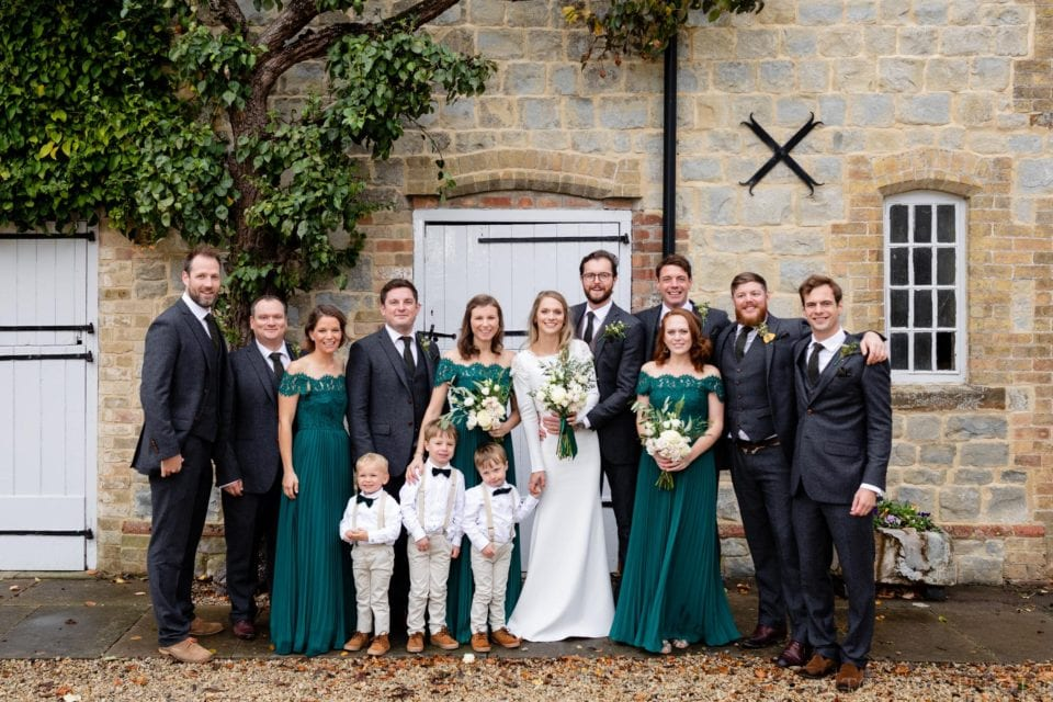 The wedding party at Longbourn Barn
