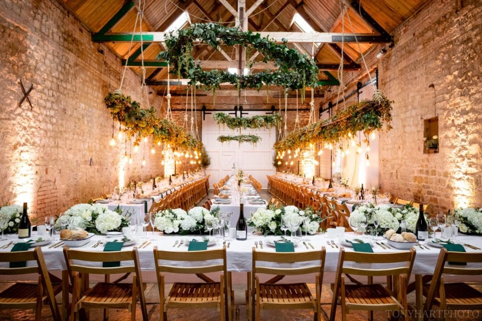 Longbourn Barn wedding venue dressed immaculately and awaiting Anna & Al's guests.