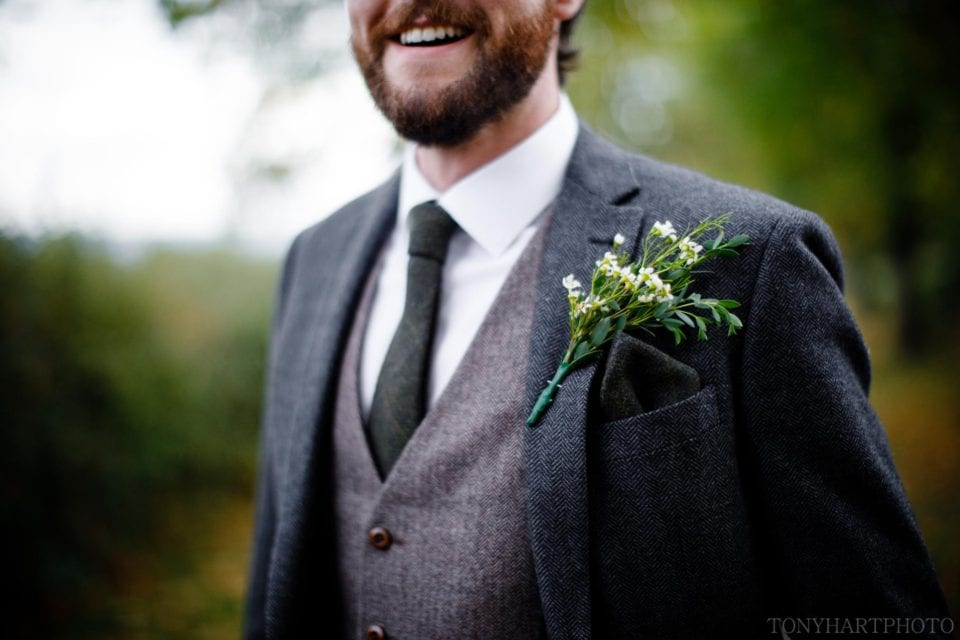 Detail of Groom's suit and buttonhole