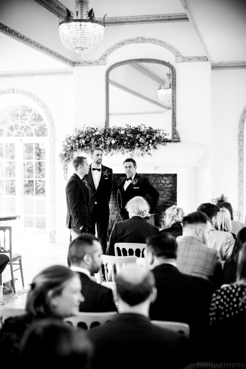 James waiting for his bride in The Vine Room at Northbrook Park