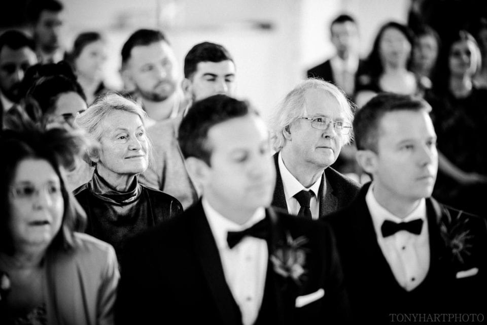 James's Dad watching the wedding ceremony at Northbrook Park