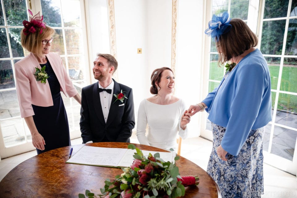 Northbrook Park Wedding Photography - The bride and groom with their witnesses