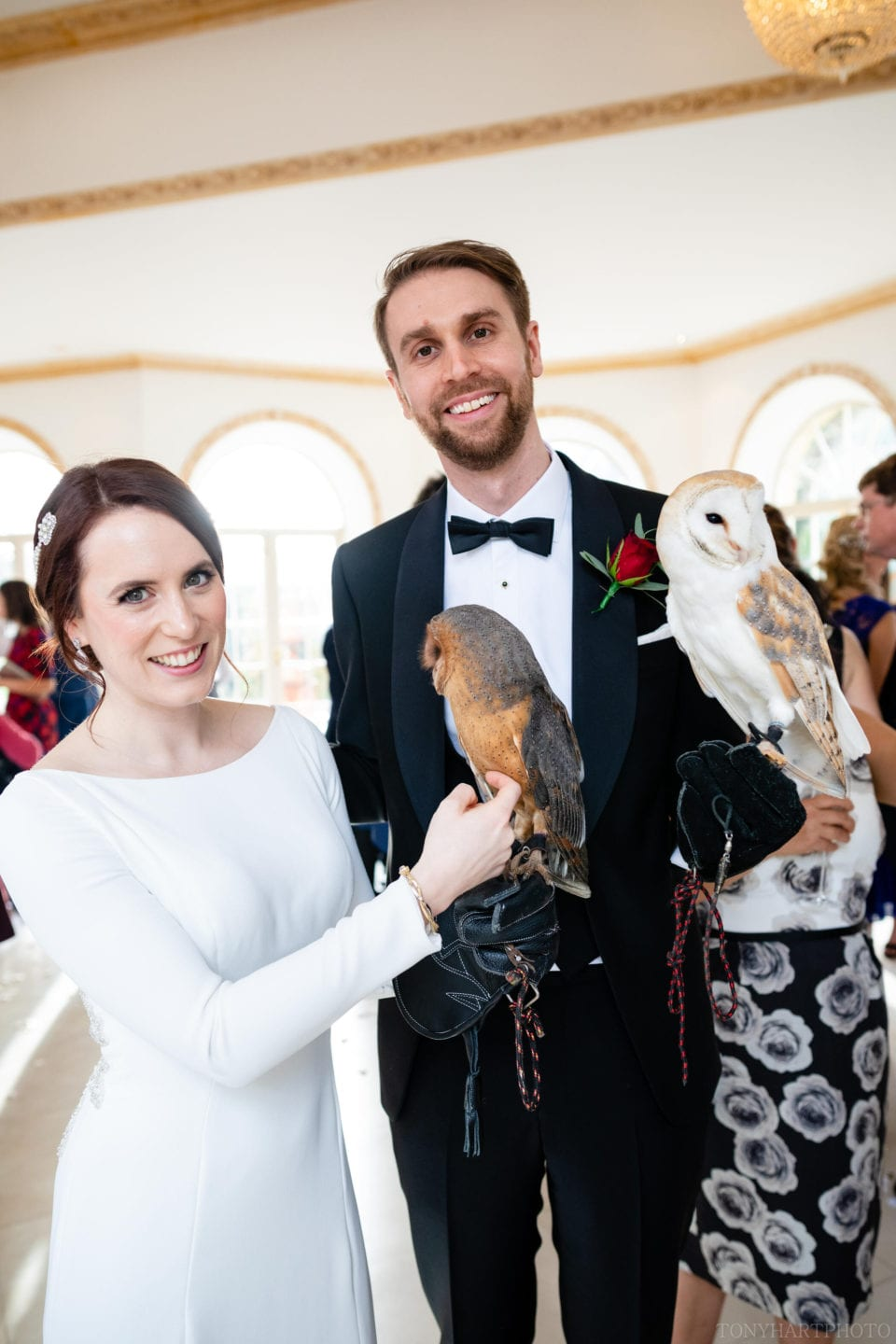Northbrook Park Wedding Photography - Bride & Groom with Owls by CSR Falconry
