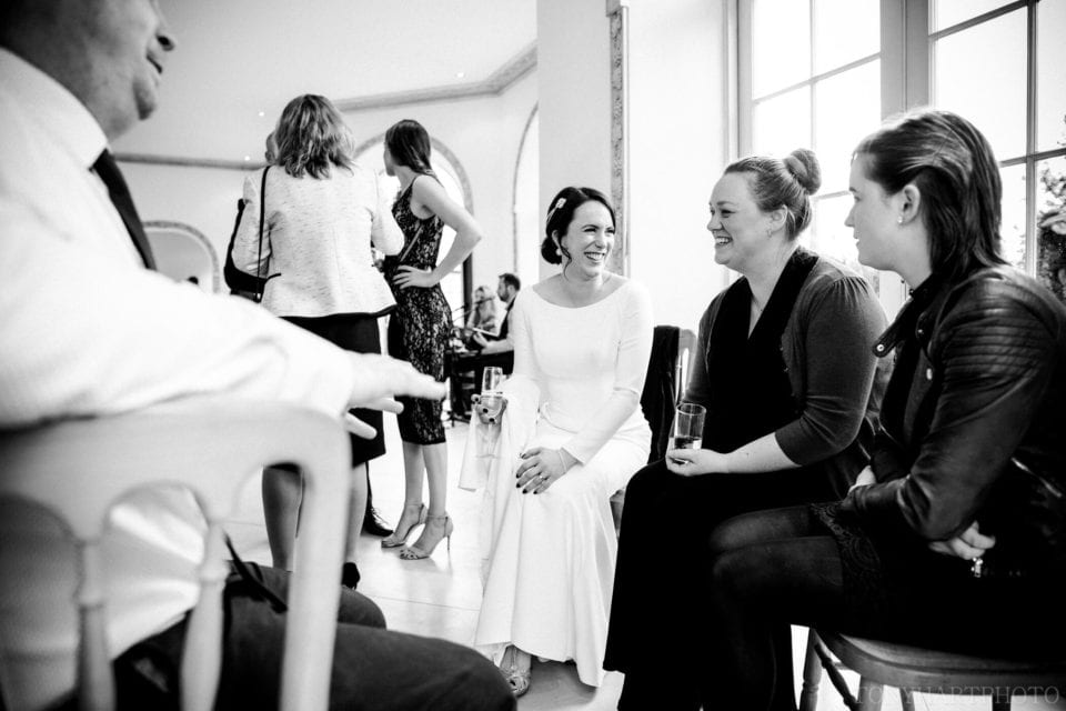 Northbrook Park Wedding Photography - Black and white in the Vine Room