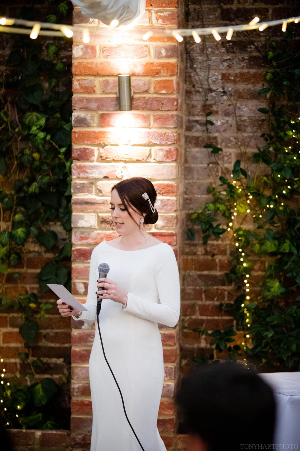 Jemima gives her speech in the Orangery at Northbrook Park