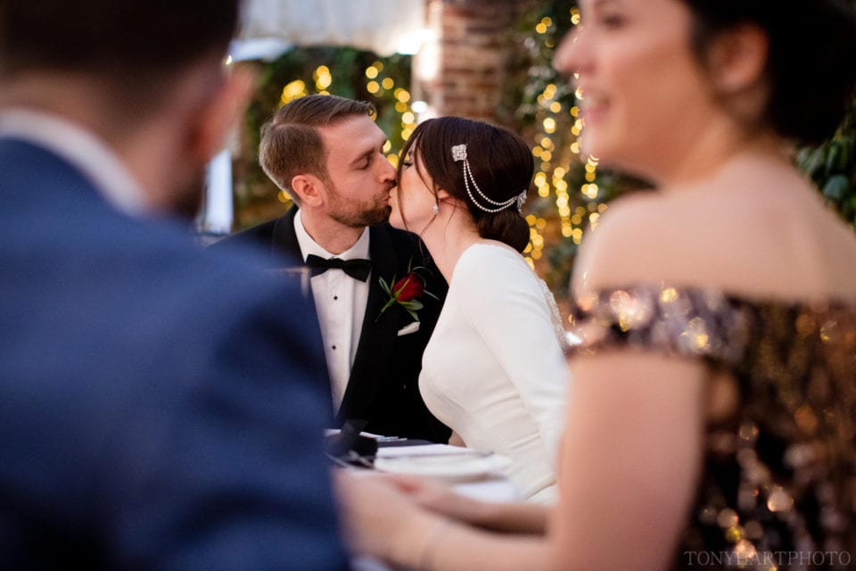 Bride & Groom share a kiss at Northbrook Park