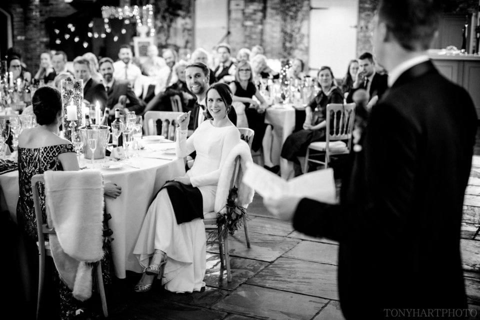 Bride & Groom during the speeches