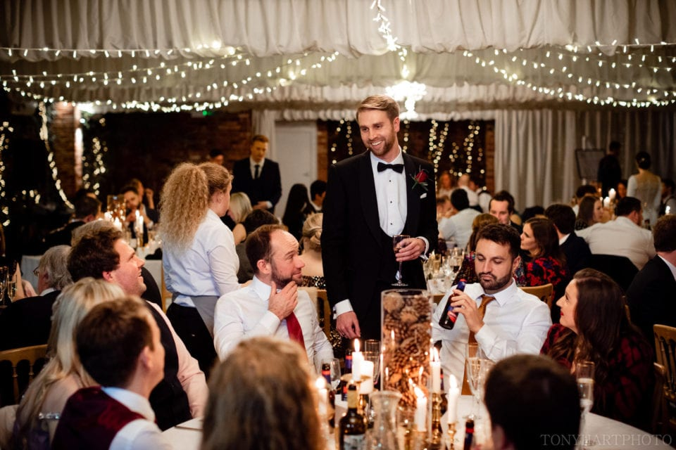 Northbrook Park Wedding Photography - Chatting to guests during the wedding breakfast