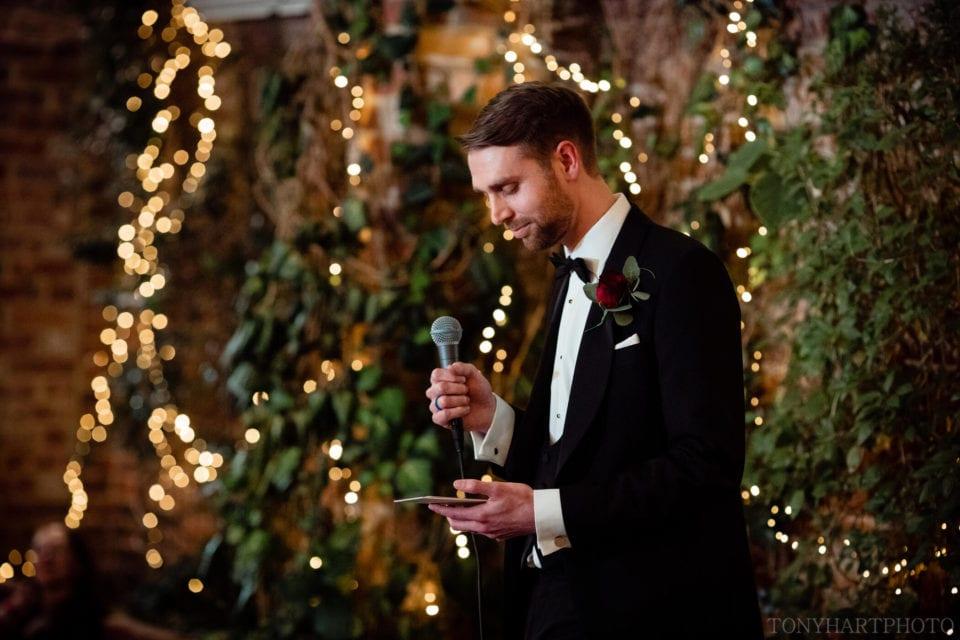 James' wedding speech at Northbrook Park