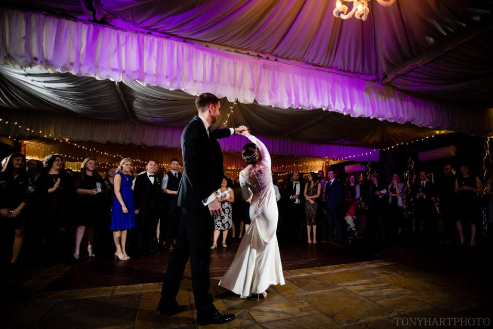 Jemima & James' first dance included this amazing spin which was the perfect way to show off Jemima's incredible dress!