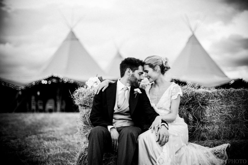 Tipi wedding black and white portrait
