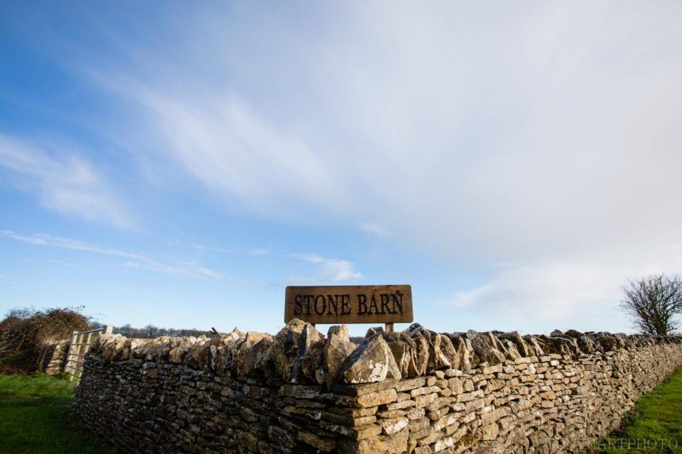 Stone Barn wedding venue sign