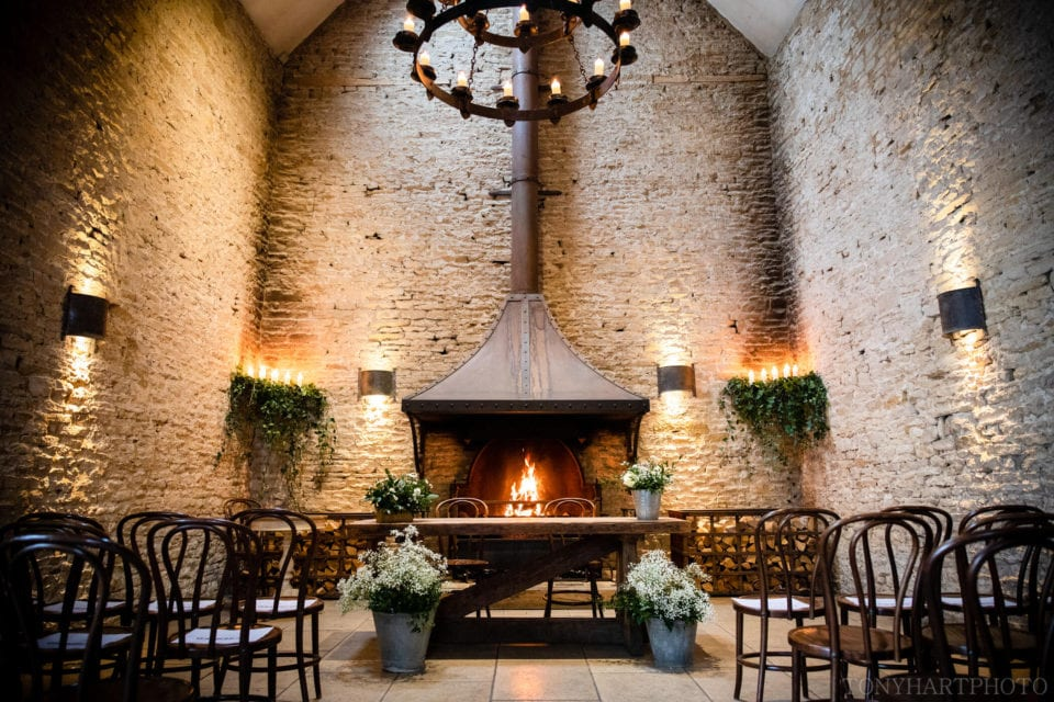The great fireplace at Stone Barn