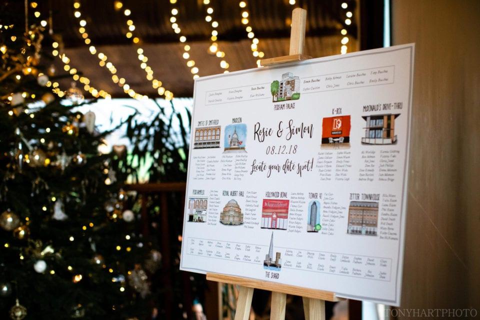Wedding table plan at Stone Barn