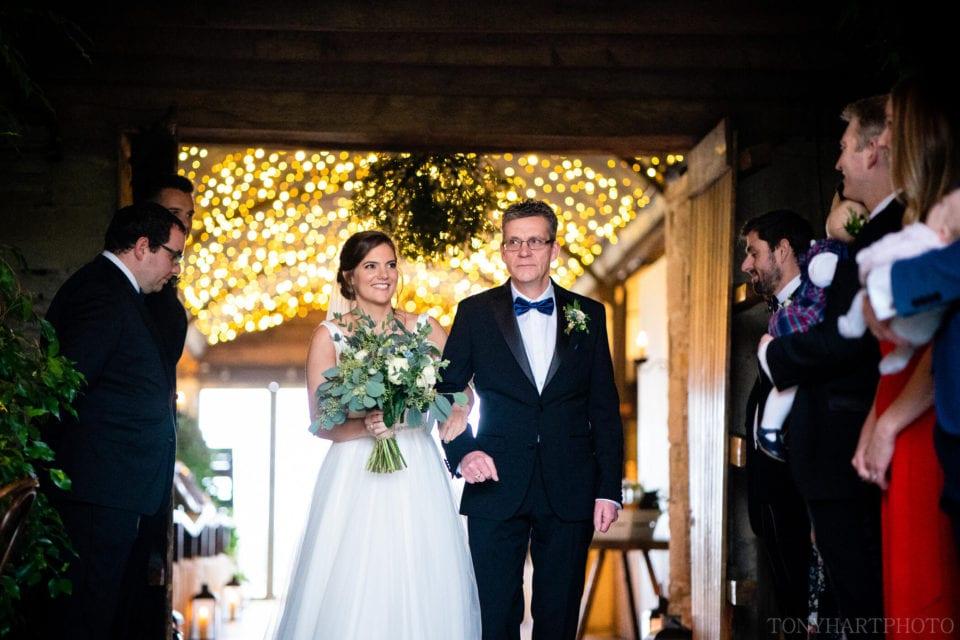 Bridal entrance at Cripps Stone Barn wedding